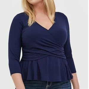 Supersoft Navy Faux Wrap Shirt